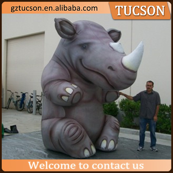 Advertising giant sitting inflatable rhino model for event