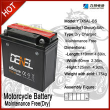 Motorcycle Part/12V 5A Dry Charged Maintenance Free Batteries For Loncin Lifan Zongshen Jianshe Kinlon (YTX5AL-BS)