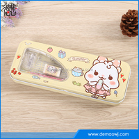 2016 Hot sale two layers cartoon metal pencil box stationery products list
