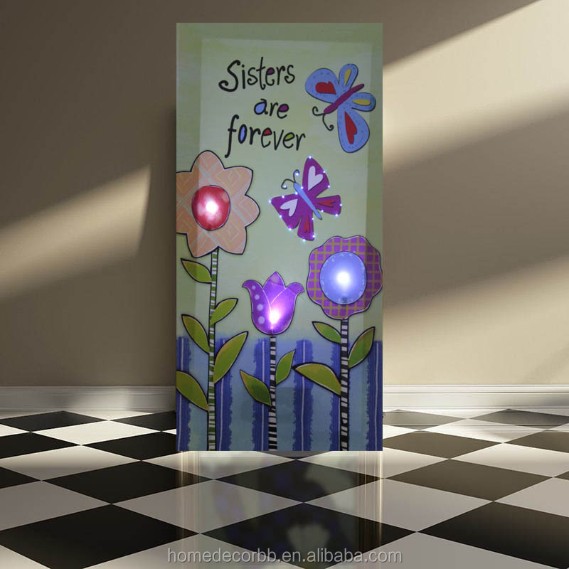 Big size cartoon flowers with butterfly pictures led canvas wall painting lights up for kids bedroom decor giclee printed