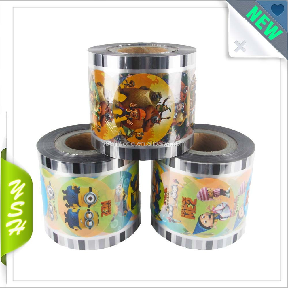 customized printed colour plastic automatic packing roll film lid sealing film