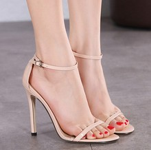 QX3414 Designer shoes classic word buckle ring high-heeled sandals hollow-out peep-toe shoes