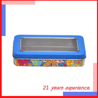 wholesale special custom cute rectangular kids metal jewelry tin box with clear window