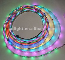 5m TM1809 led dream color strip,DC12V input,10pcs pixels each meter, waterproof by silicon coating