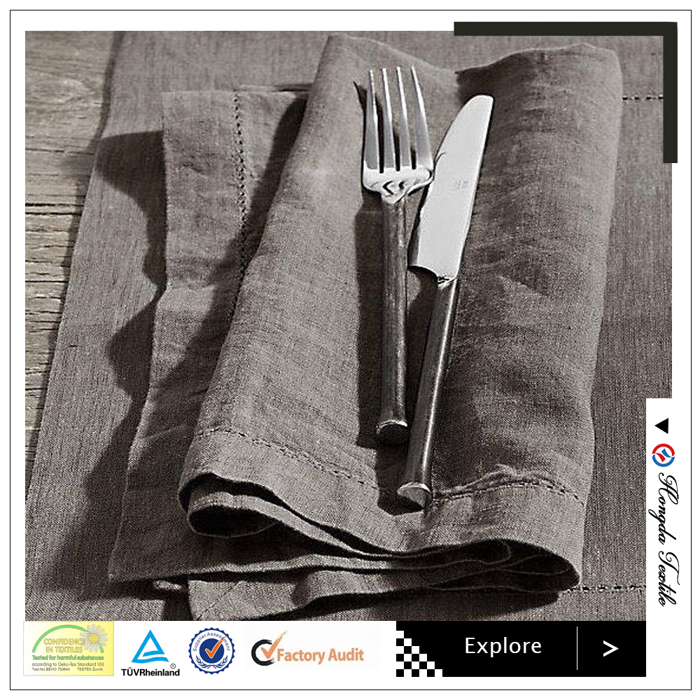 100% natural color linen table napkins;flax napkin