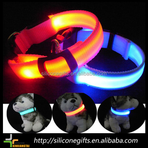 "Metal Buckle LED Dog Collar, USB Rechargeable, Available in 7 Colors & 4 Sizes (Small [12.5-16.5"" / 32-42 cm], Atomic Green)"