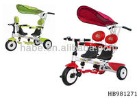 pull and push child 3 wheels safe twin double seat canopy tricycle, bicycle for stroll