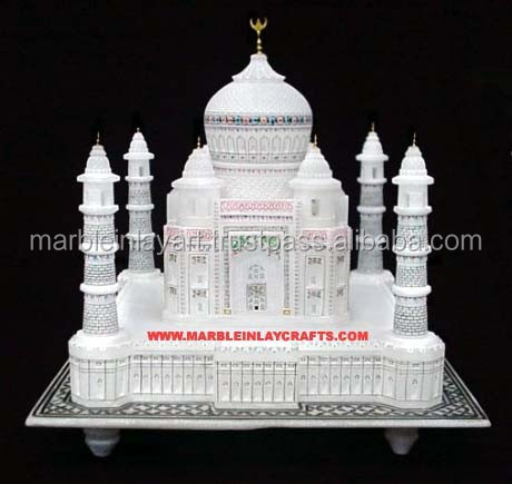 Marble Taj Mahal Replica Miniature Hand Carved Decorative Taj Mahal Model