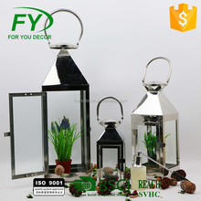 New Design Outdoor Hanging Windproof Glass Square Stainless Steel Candle Lantern