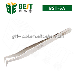BEST-BST-6A bent tip tweezers/anti-static stainless tweezers