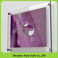 Art Gallery picture frame clear acrylic a4 wall mounted photo frame with screws