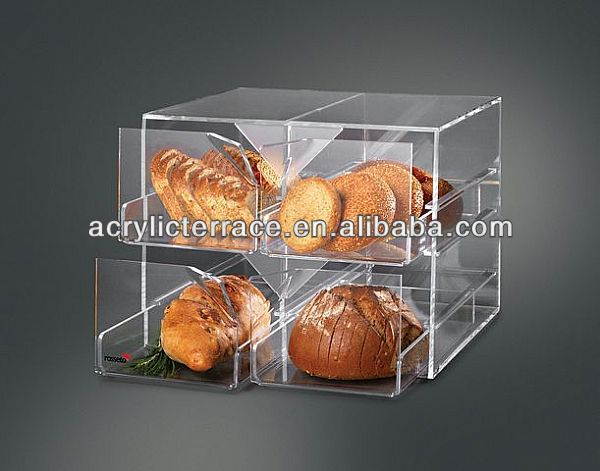 4 Drawer Clear Acrylic Bakery Display Case Bread Cabinets fd140301004