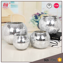 Best selling products lead free fancy round cracked silver glass bowl vase