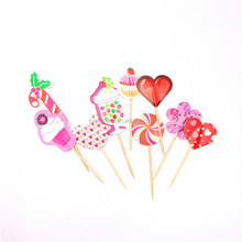12CM Hot Selling Party Supplies Frilled Cocktail Wooden Picks