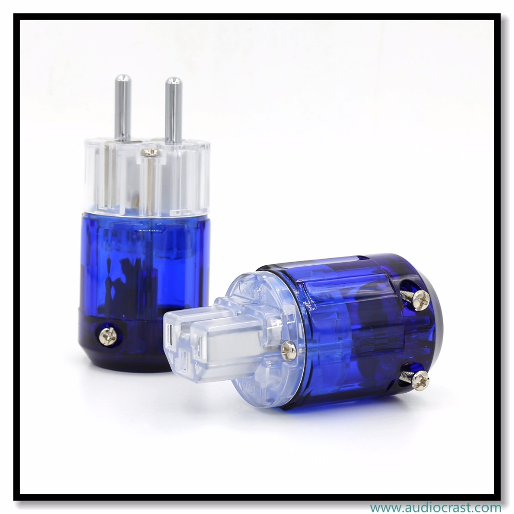 OEM/ODM Rhodium Plated Transparent Schuko EU Male Power Plug Connector+Power IEC Connector Plug Audio