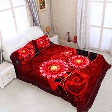 NEW! High quality blanket and raschel bedding sets with full size for dubai.