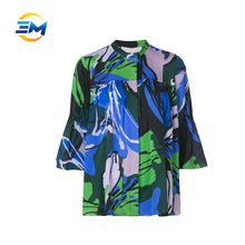 Custom new fashion stand collar 3/4 sleeve printed elastic silk bell design pleated women silk blouse
