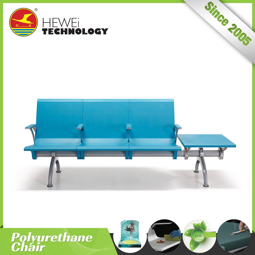 comfy polyurethane 3 seater airport chair with table