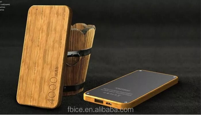 4000mah wooden case ultra-thin portable power bank for all smart phones