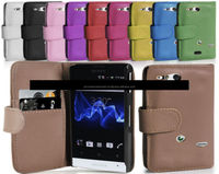 Phone Case Wallet card slot in leather for Sony Xperia go, iPhone 6, iPhone 5 and iPhone 4 and for Samsung S5 and Note 3