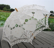 Wholesale Embroidered Battenburg Lace Parasol Wedding Bridal Umbrella With Wooden Handle