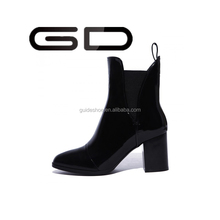 GD British Style Classic Women Leather Martin Boots Punk Bandage Autumn Waterproof Shoes Black