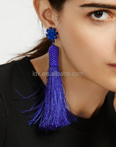 Ishigaki Drops Earring Tassels Cobalt Fringe Earrings