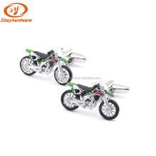 Novelty cufflink with motorcycle