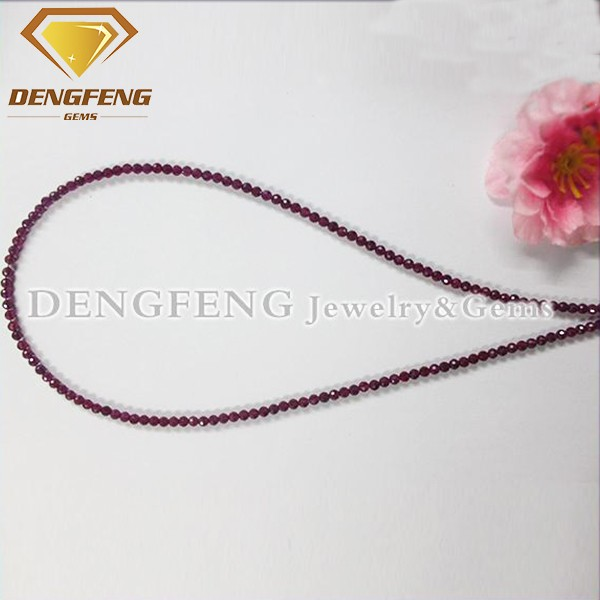 Faceted Cut Ball Shaped Synthetic Ruby Stone Beads