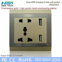 USB wall socket 240V with double USB charger transformer for mobile phone charging