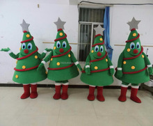 Character cartoon Xmas tree mascot costume with grey star