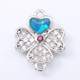 Bule heart Opal Charm Pendant Jewelry Rose Gold Plated Zircon Four Leaf Clover Pendant