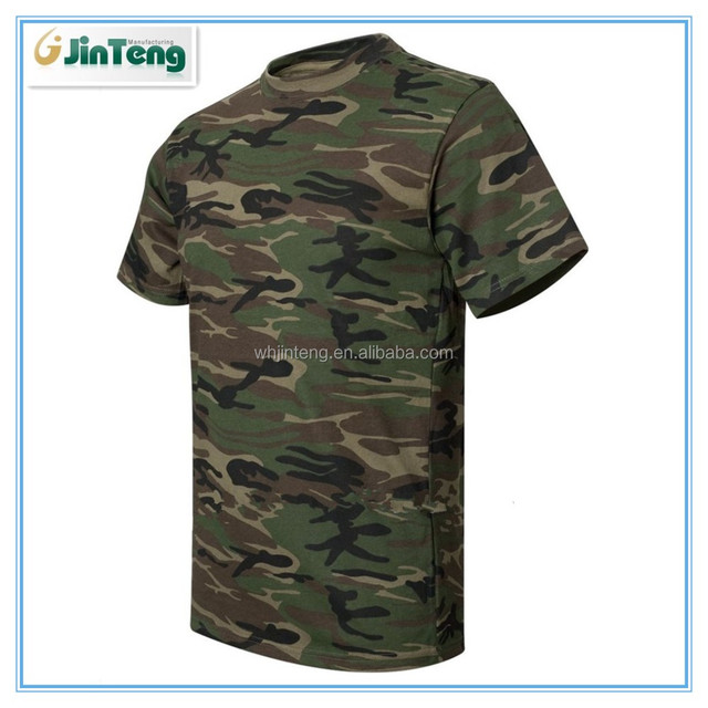 100% wool green military Camouflage T-Shirt