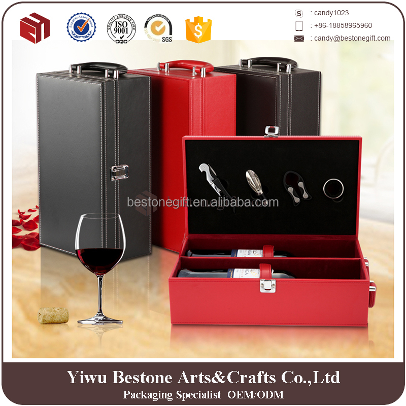 Hot selling PU Leather 2 Bottle Wine Box with Accessories Bottle Opener Set