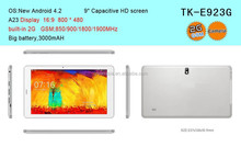9 inch capacitive touch screen A23 Dual core Android 4.2 GPS 2G tablet pc