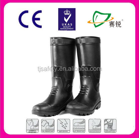 black Waterproof PVC Rain Boots