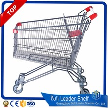 Wholesale 2 tier double shopping carts metal shopping trolley with 4 wheel and baby seat with coin lock