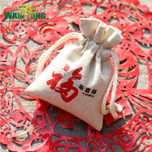 Custom printed reusable ecofriendly linen drawstring gunny sacks