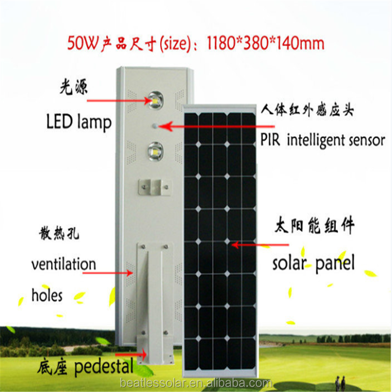 Manufacturer Soar Powered 50W Integrated Solar Garden Light