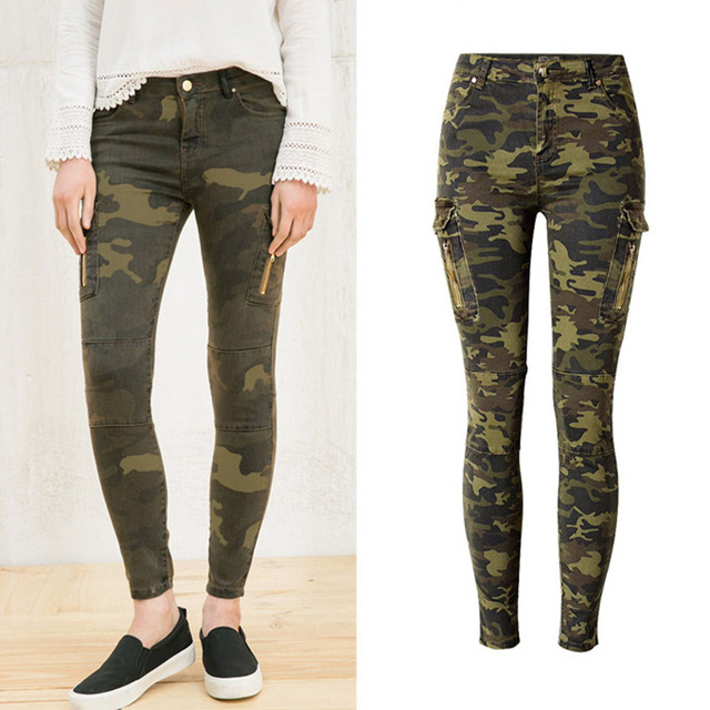 Women Army Green Skinny Jeans Camouflage Trousers Cropped Pencil Pants Jeans For Sale