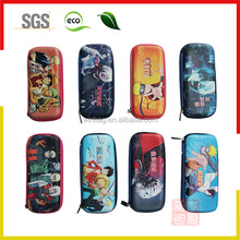 Custom 3D sublimation printed EVA hard pencil box / rubber logo Stationery pencil case with zipper closure