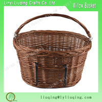 Wholesale Vintage Willow Wicker Bicycle Front Bike Basket with Dogs Pets Shopping Stuff Baskets