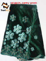 green velvet dress velvet suits designs for women of VE10025 armygreen