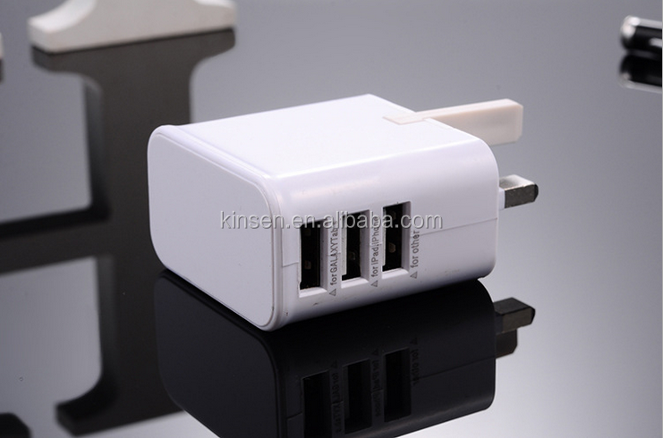Hot sale in amazon 3 usb wall charger australia/uk plug for home and office use