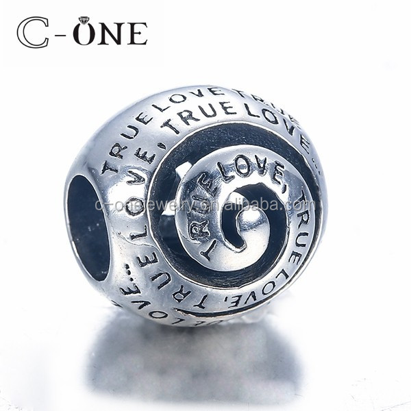 China Wholesale Silver Bracelets Charm Beads, Engraved 925 Sterling Silver Bead Charm For Bracelets