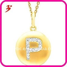 Fashion 14k Yellow Gold Initial P Disc Pendant Necklace(A103109)