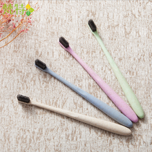 High Quality Cheap Soft Natural Black Charcoal Toothbrushes with Wheat Stalk Handle
