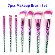 Wholesale 7pcs Soft Colorful Synthetic Hair Makeup Brush Kit