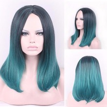 Hot selling remy human hair wig ombre 1b green brazilian hair wig 12 inch bob style full lace human hair