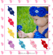 2015 fashion blue elastic baby crystal tiara polyester headbands wholesale